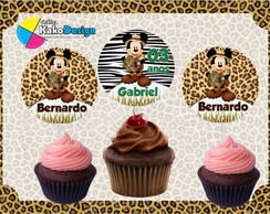Topper cupcake Mickey Safari