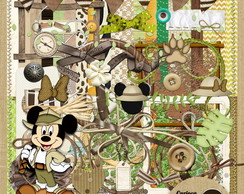 Kit para Scrapbook#288 Mickey Safari