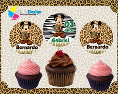 Topper para cupcake Mickey Safari