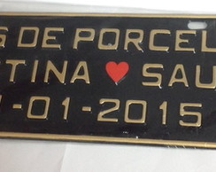 Placa carro Bodas de Porcelana