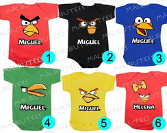 Body Infantil Angry Birds Coloridos