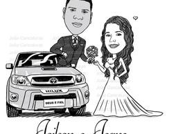 Linda Caricatura Casal Dando Buque Flores Noiva Carrao Hilux No