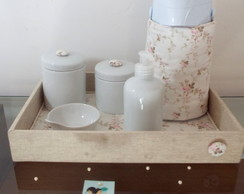 Kit Higiene Linho e Floral Off White T31