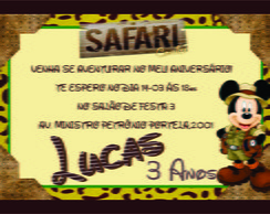 convite de aniversario do mickey safari
