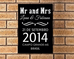 Placa Decorativa Mr. and Mrs.