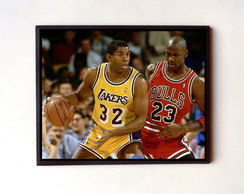 Quadro Magic Johnson e Michael Jordan
