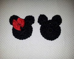 Aplique de croche Mickey e Minnie