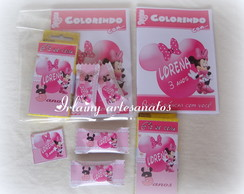 Kit colorir Minie rosa