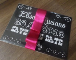 Imã Save the date com laço 10x7,5cm