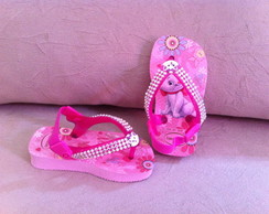 Chinelo baby decorado manta de strass
