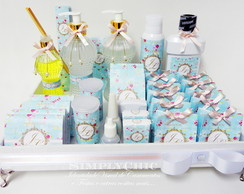 Kit Toilette Floral Azul