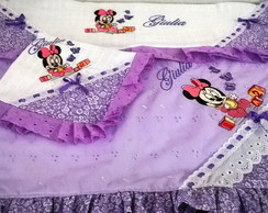KIT DE MANTA E FRALDAS BORDADA MINNIE