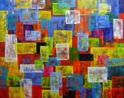 Quadro decorativo abstrato original 100x100 Código 886