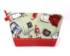 Necessaire pin-up com bolso interno