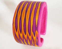 Polymer Clay - Bracelete striped