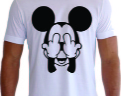Camiseta Mickey Dedos Do Meio