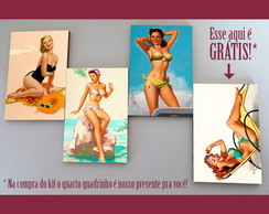 "Kit quadros pin-ups ""Praianas"""