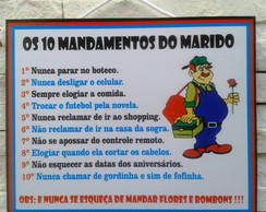 Placa Decorativa 10 Mandamentos Marido