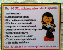 Placa Decorativa 10 Mandamentos Esposa