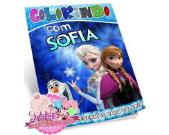 Kit Colorir Frozen + Giz de Cera
