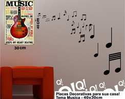 Placa Decorativa Music