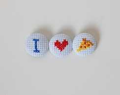 Kit de ímãs bordados I Love Pizza