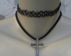 kit 2 colares choker tattoo e crucifixo