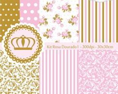 Kit Papel Digital Rosa Dourado I