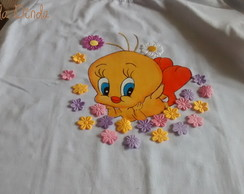 Camiseta Adulto Baby Look Manga Curta