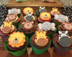 Cupcake decorado bichos safari