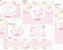 Kit digital Floral Shabby Chic passarinho
