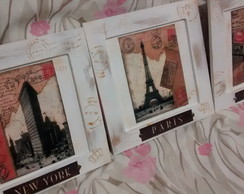 Kit Quadros Decorativos Paris New York L