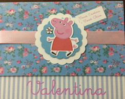 Convite Peppa Pig Floral azul