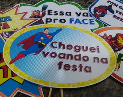 Placas Divertidas p/ Foto - Super Heróis