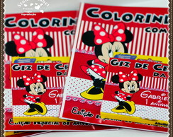 Kit colorir Minnie Mouse c/ giz 12 cores