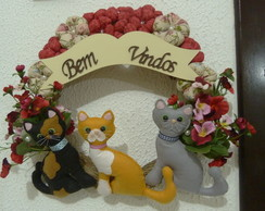 Guirlanda decorada com gatos