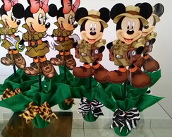 Centro de mesa mickey ou minnie safari