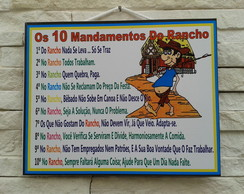 Placa Decorativa 10 Mandamentos Rancho