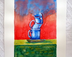 Blue Cups (Aquarela Original )