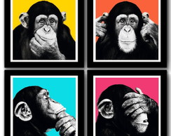 Kit 4 Quadros Chimps Pop Art