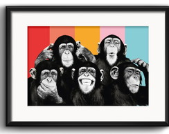 Quadro Macacos Pop Art com Paspatur