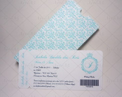 Convite Ticket Azul Tiffany Envelope Imp
