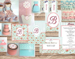 Kit digital-Festa floral Azul e Salmon