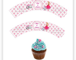 Wrappers Cupcake Barbie Moda e Magia