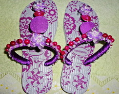 Havaianas Top violeta, customizada.