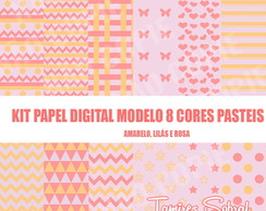 Kit papel digital Amarelo, Lilás e Rosa