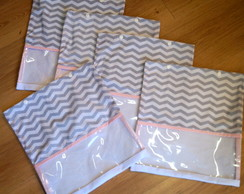 KIT ENVELOPE MATERNIDADE CHEVRON E ROSA