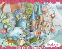 Kit Scrapbook Digital Avião Fantasia