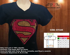 Camisetas e baby look strass Superman