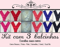 Kit com 3 Calcinhas de renda sem costura